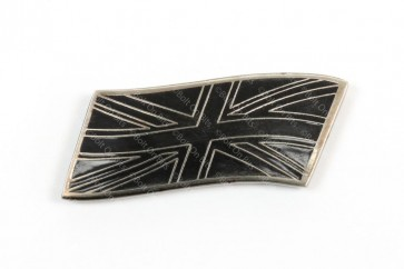 Small Metal Enamel Black & Silver Flying Union Jack