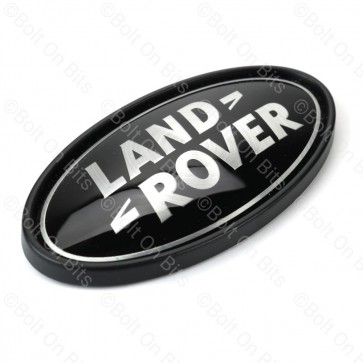 Flat Black & Alloy Land Rover Badge - Rear Badge - For Flat Surface Only