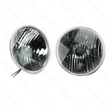 """Pair of Wipac Crystal 7"""" Headlights with Side Light"""