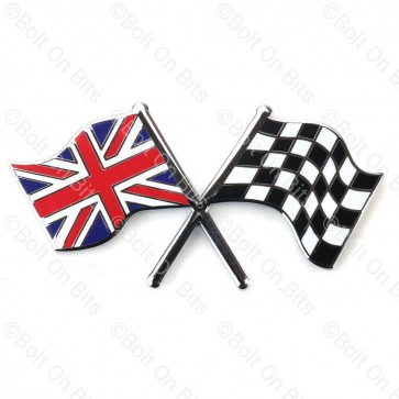 Crossed Union Jack Chequered Flags Badge
