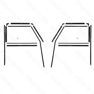Left & Right Defender Late 1987 to 2016 Door Channel Kit - Push Button Door Handle