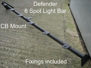Defender 6 Spot Roof Bar & CB Mount