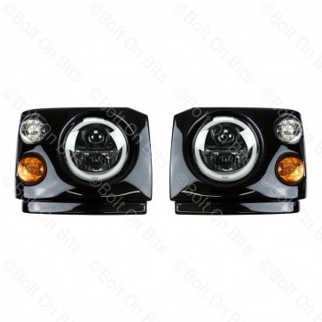 """Disco 1 200Tdi Fronts Coloured LED Wipac Black Edition LHD 7"""" LED Headlamps Halo Angel Eye"""