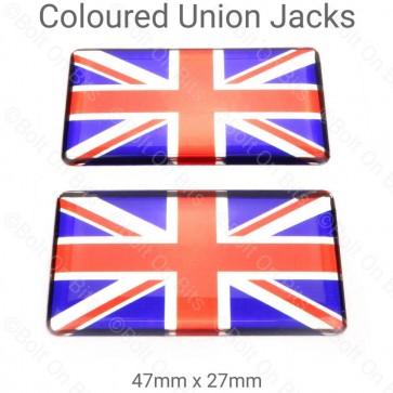 Pair of Red Chrome & Blue Vinyl Union Jack Badges