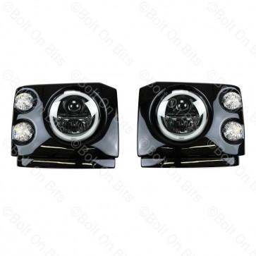 "Discovery 1 300Tdi Fronts Clear LED Wipac Black RHD 7"" LED Headlamps Halo Angel Eye"