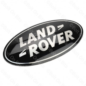 "Black & Silver Curved Land Rover ""Front"" Badge"