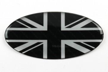 Oval Resin Black & Silver Union Jack