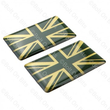 Pair of Green & Gold Vinyl Union Jack Badges