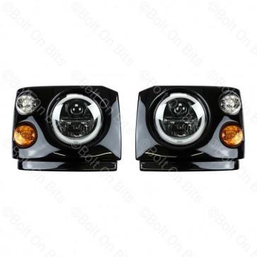 "Disco 1 300Tdi Fronts Coloured LED Wipac Black Edition RHD 7"" LED Headlamps Halo Angel Eye"
