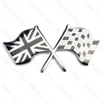 Crossed Union Jack & Chequered Flag Badge