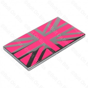 Small Pink & Chrome Enamel Union Jack