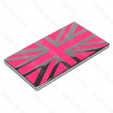 Small Pink & Chrome Enamel Union Jack