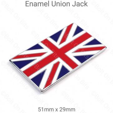 51mm x 29mm Metal Enamel Coloured Union Jack Flag Badge Self Adhesive