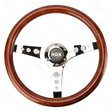 RDX Wooden Steering Wheel - Polished Center Spokes