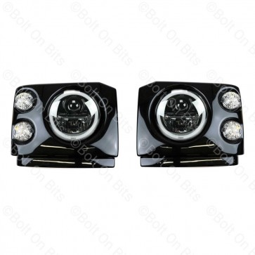Discovery 1 200Tdi Clear LED Wipac Black Edition LHD Head Light Conversion with Angel Eye