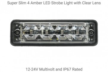 Super Slim 4 Amber LED Strobe Lamp with Clear Lens