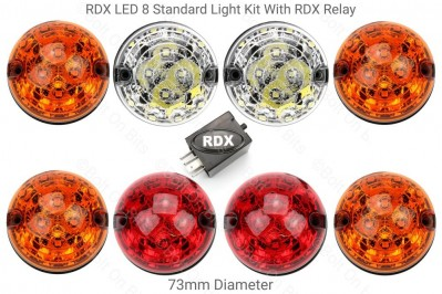 RDX LED Light Kit 8 lamps in Standard Colours with RDX Relay