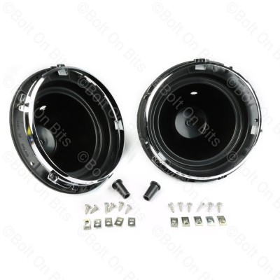 "Pair of Wipac 7"" Full Bowls with Chrome Inner Bezels"