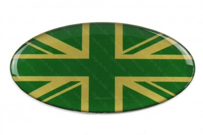 Oval Resin Green & Gold Union Jack Single