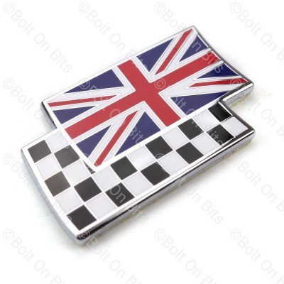 Union Jack Chequered Flag Overlay Badge Metal Enamel