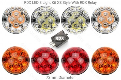 RDX Land Rover Defender LED XS Style Clear Front Coloured Rear Light Kit with RDX Relay