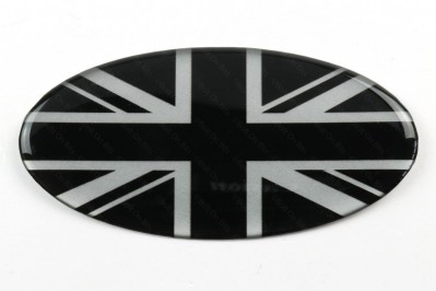 Oval Resin Black & Silver Union Jack