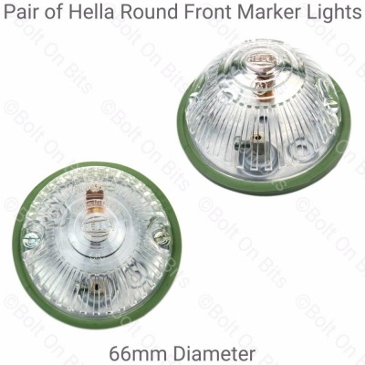 Pair of Hella 66mm Round Domed White Marker Light