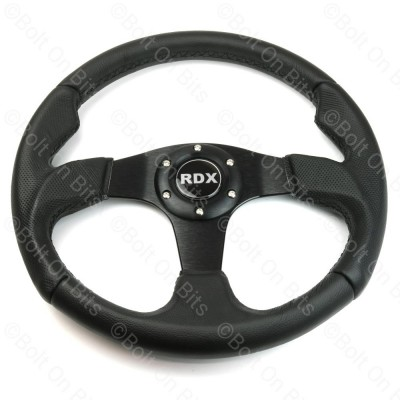 Black 3 Spoke Black Leather Steering Wheel 35cm 70mm PCD