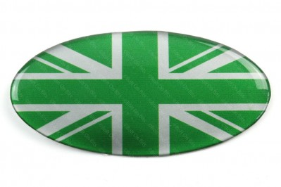 Oval Resin Green & Silver Union Jack