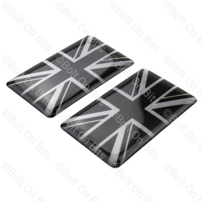 Pair of Black & Silver Vinyl Union Jack Badges